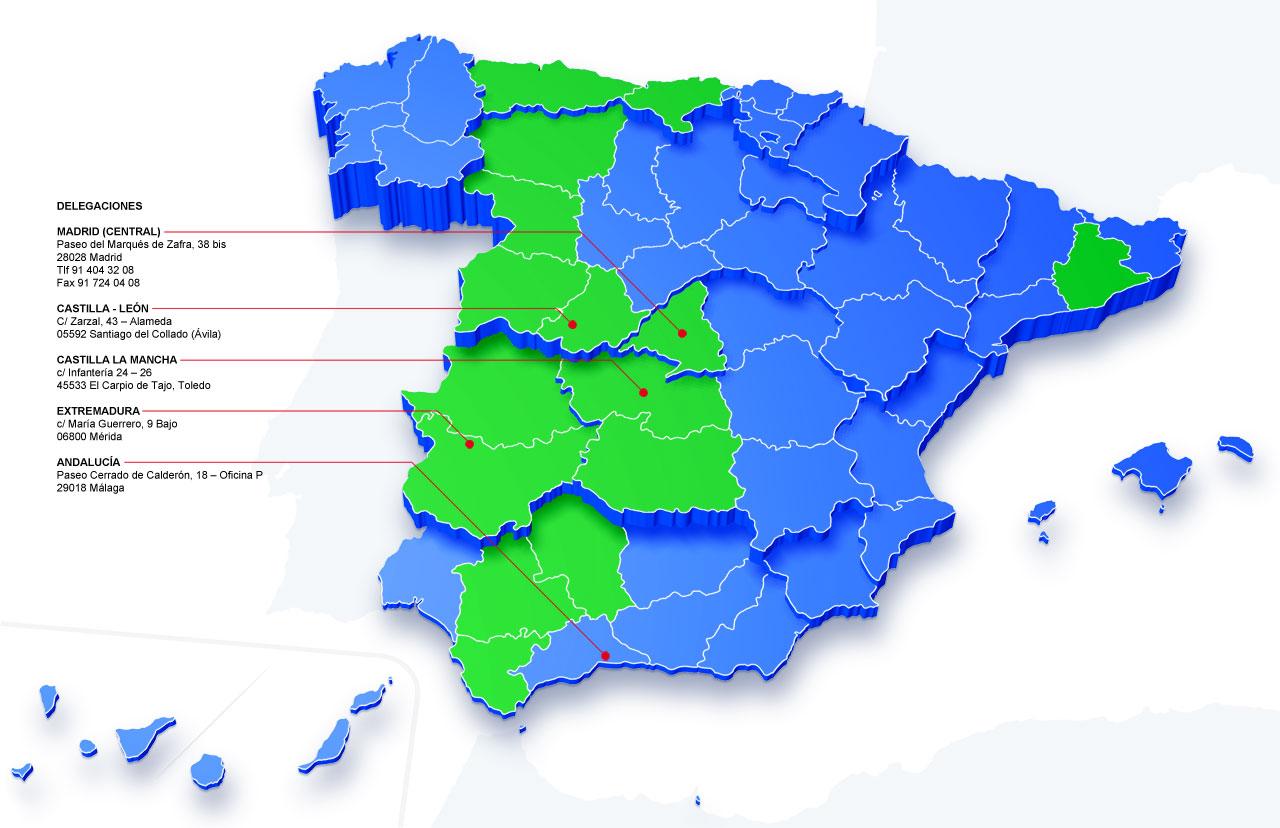 Mapa zonas de actuación empresa Trauxia
